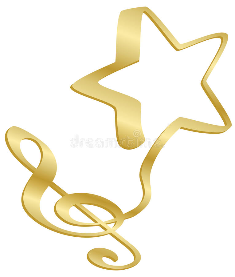 Clef and star. A musical G or treble clef flows into a star vector illustration