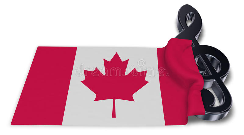 Clef symbol and canadian flag vector illustration