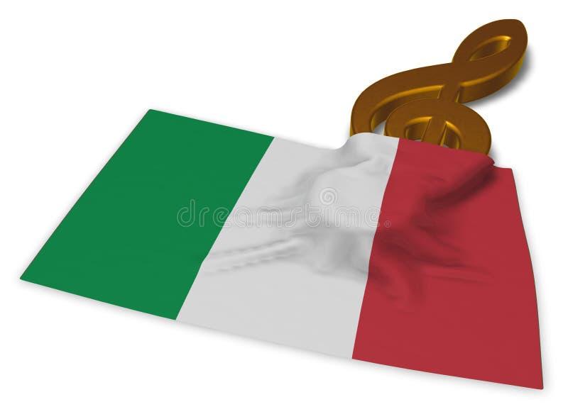 Clef symbol and italian flag royalty free illustration