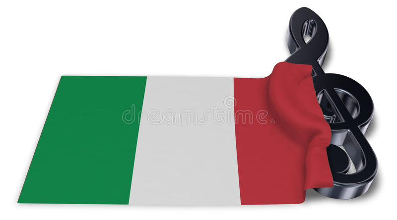 Clef symbol and italian flag. 3d rendering vector illustration