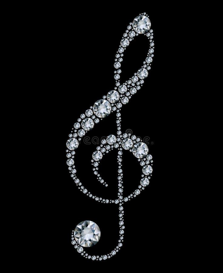 Clef triple de diamant illustration libre de droits