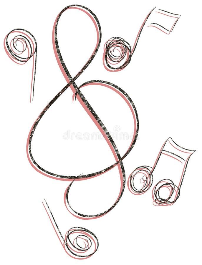 Clef triple stylisée avec des notes de musique illustration stock