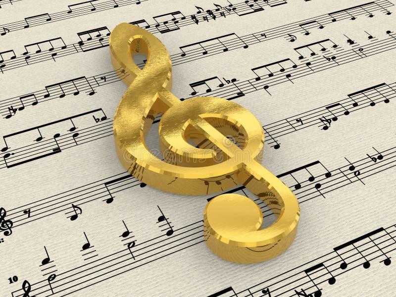 clef złoty papierowy wynika treble obraz royalty free