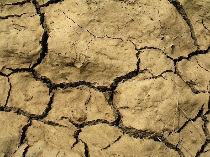 Clefts on dried soil. Clefts on the dry brown ground. These cracks were left in garden by heavy rain which was soon replaced by hot South sun. There is some royalty free stock photo