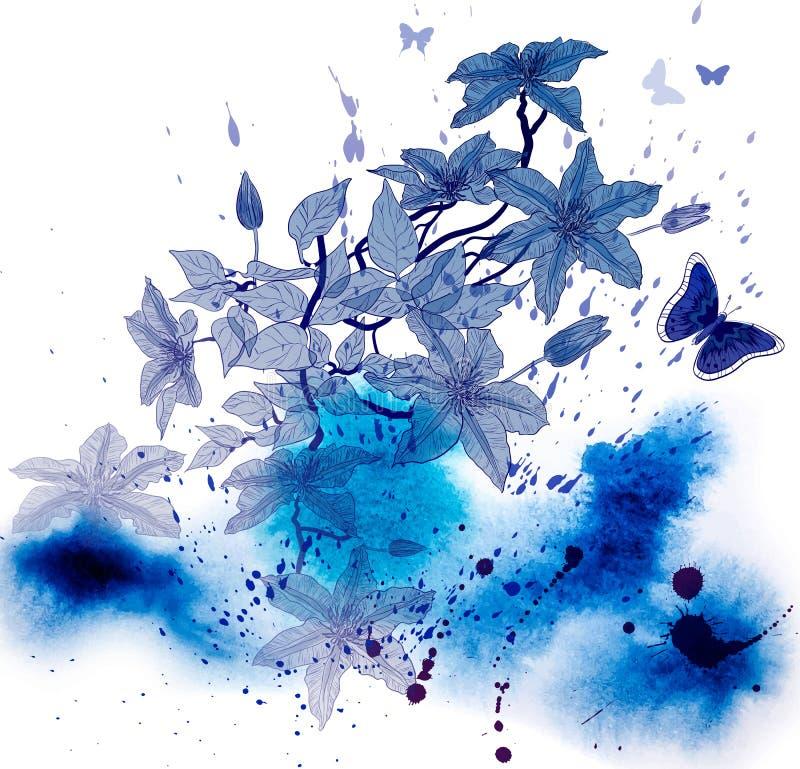 Clematissenbloemen op abstracte waterverfachtergrond royalty-vrije illustratie