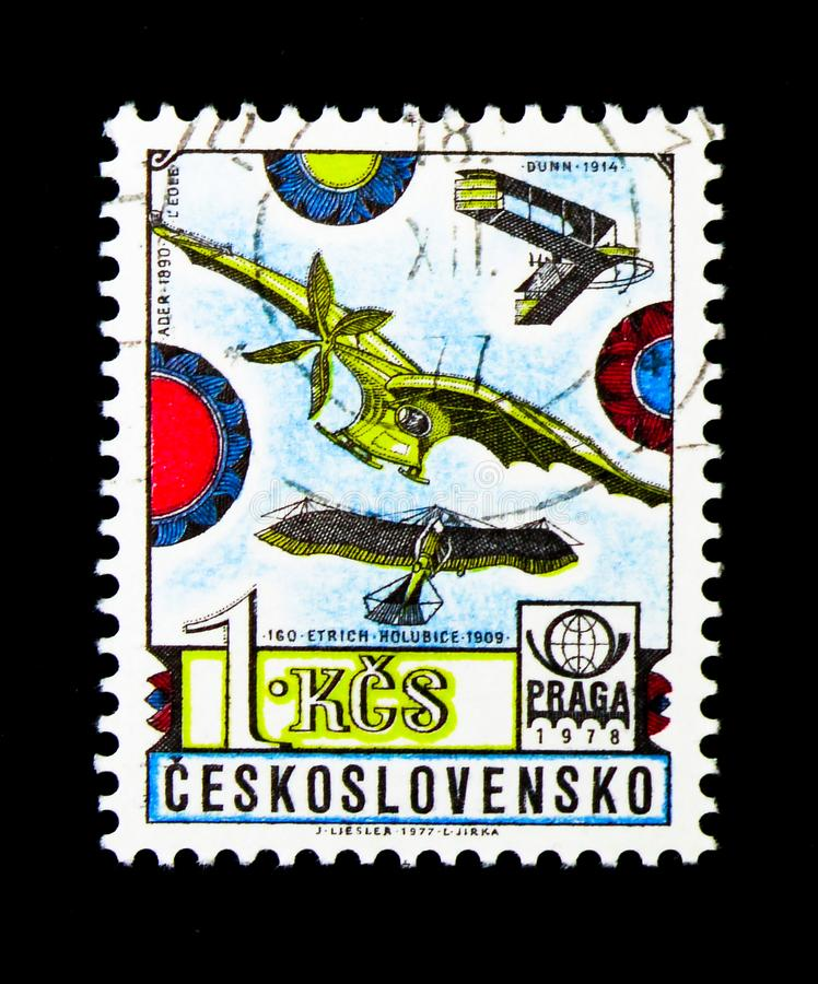Clement Ader's monoplane eole, History of Aviation serie, circa. MOSCOW, RUSSIA - NOVEMBER 25, 2017: A stamp printed in Czechoslovakia shows Clement Ader's stock photos