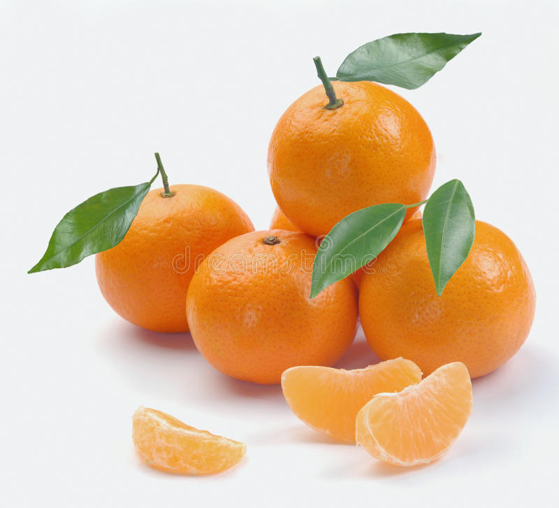 Clementina com segmentos foto de stock