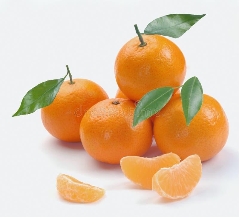 Clementinas con segmentos foto de archivo