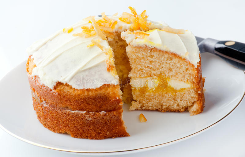 Clementine Cake. With cut slice, high key stock photo