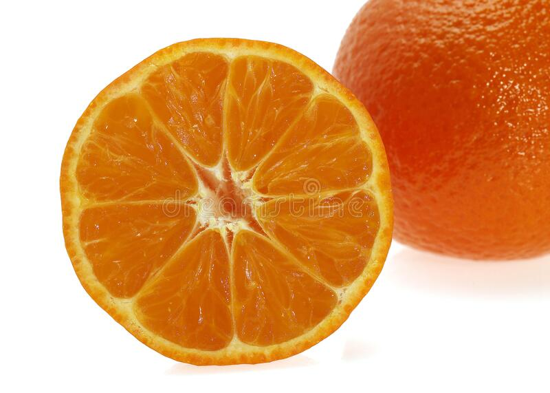 CLEMENTINE. FRUIT citrus reticulata AGAINST WHITE BACKGROUND royalty free stock image