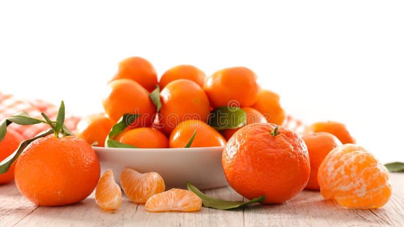 Clementine och blad arkivfoto