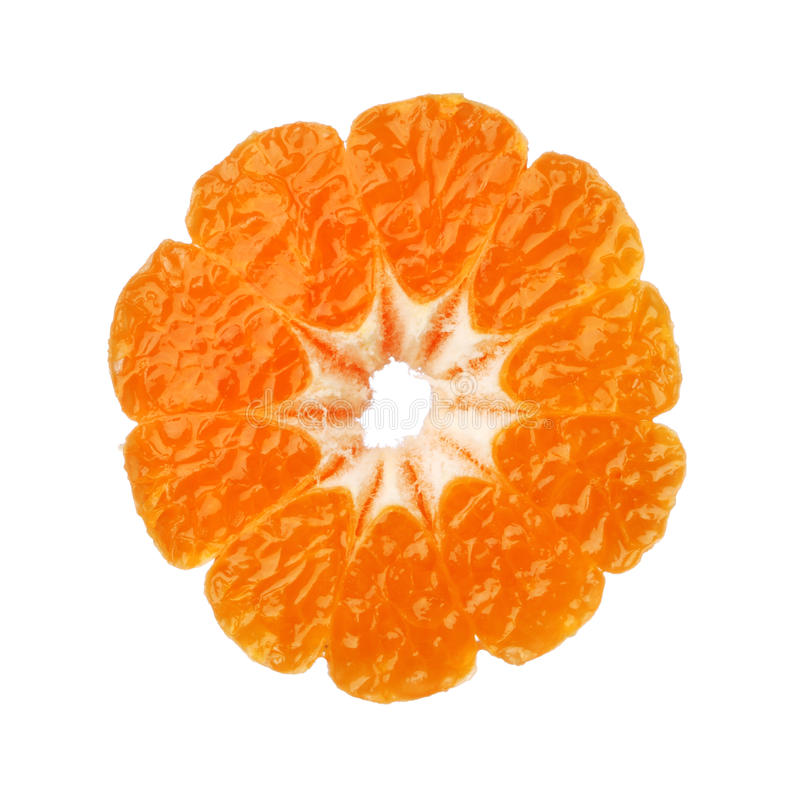 Clementine tangerine half isolated on white background stock photography
