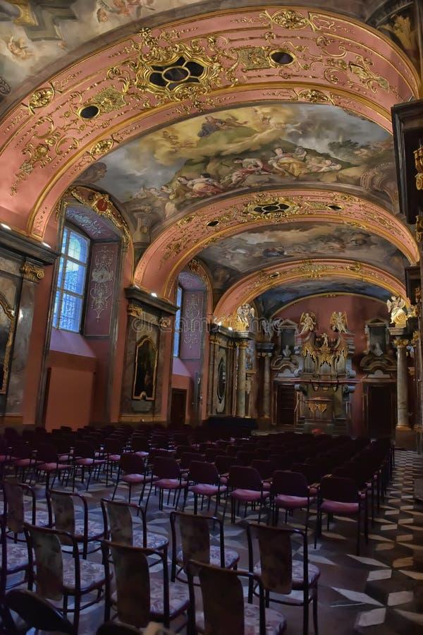 Clementinum, specchio Corridoio, Praga fotografie stock