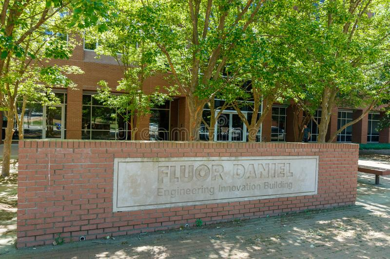 Clemson. Sc, usa - may 2: fluor daniel engineering innovation building at  university on may 2, 2019 in , south carolina academia academic architecture blue royalty free stock photography