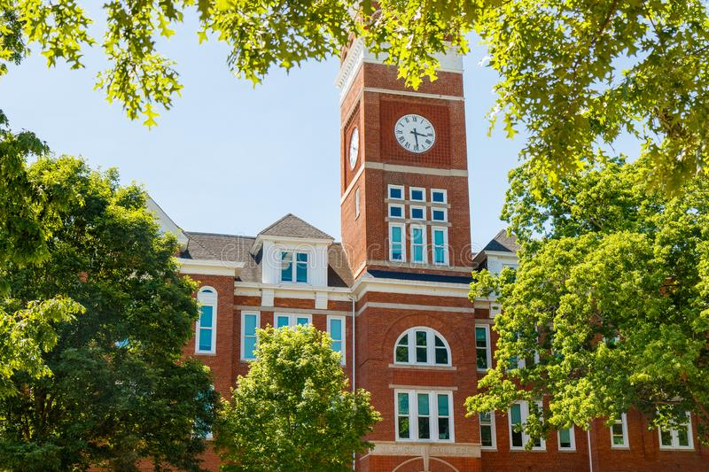 Clemson. SC, USA - May 2: Tillman Hall at  University on May 2, 2019 in , South Carolina academia academic building architecture bell tower blue brick brown royalty free stock photos