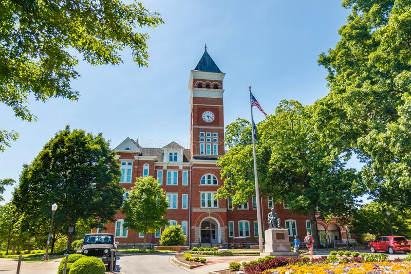 Clemson. SC, USA - May 2: Tillman Hall at  University on May 2, 2019 in , South Carolina academia academic building architecture bell tower blue brick brown royalty free stock image