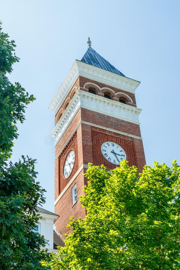 Clemson. SC, USA - May 2: Tillman Hall at  University on May 2, 2019 in , South Carolina academia academic building architecture bell tower blue brick brown stock photography