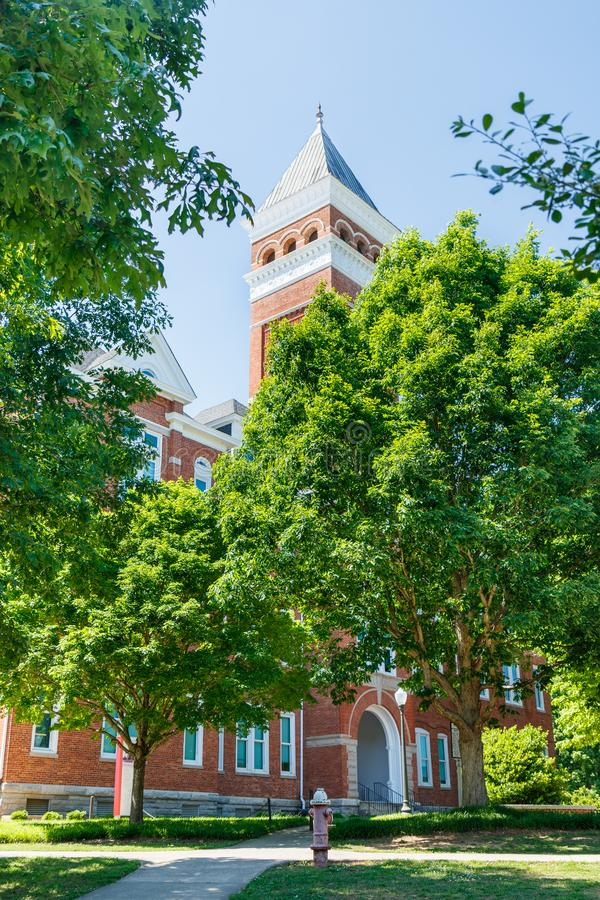 Clemson. SC, USA - May 2: Tillman Hall at  University on May 2, 2019 in , South Carolina academia academic building architecture bell tower blue brick brown stock images