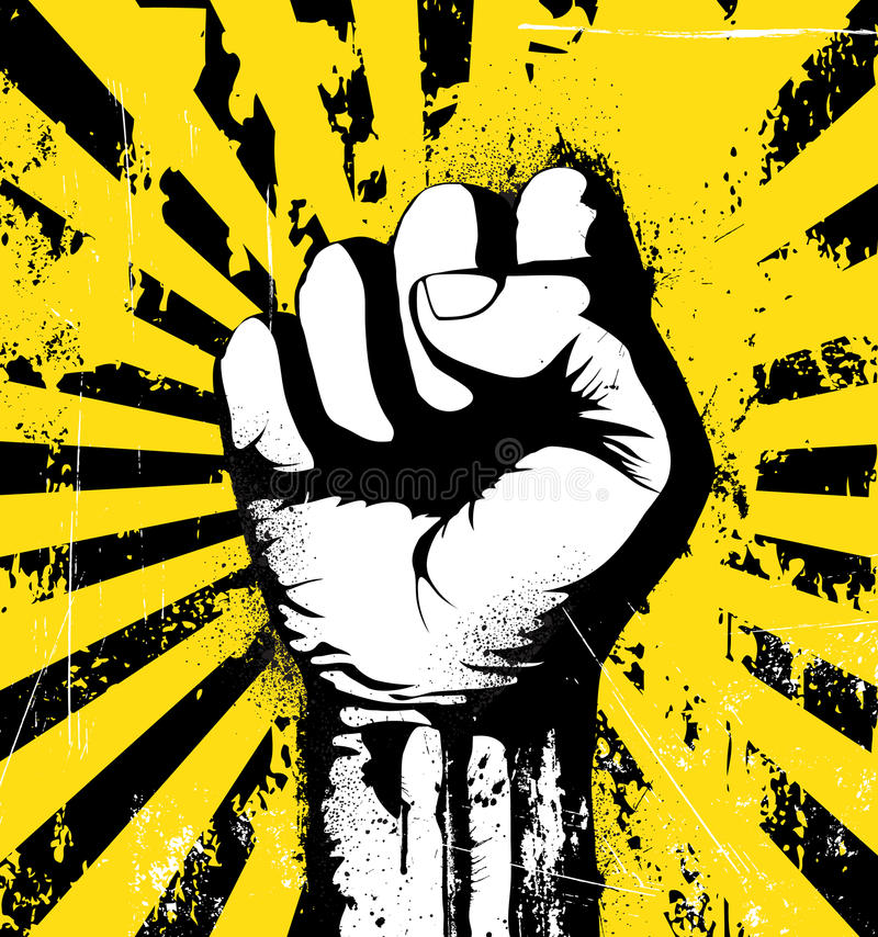Clenched fist. Vector illustration of clenched fist held high in protest on the yellow grunge urban background stock illustration