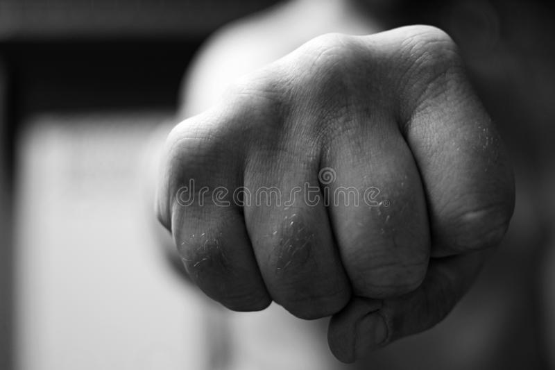 Clenched fist close up stock images