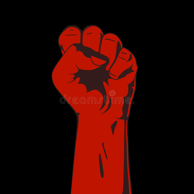 Clenched Fist. Red And Black Stock Vector - Illustration ...