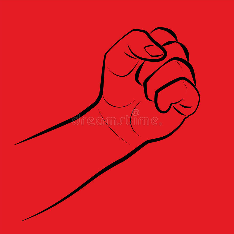 Clenched Fist Threaten Red. Clenched fist, threatening gesture. Illustration on red background royalty free illustration