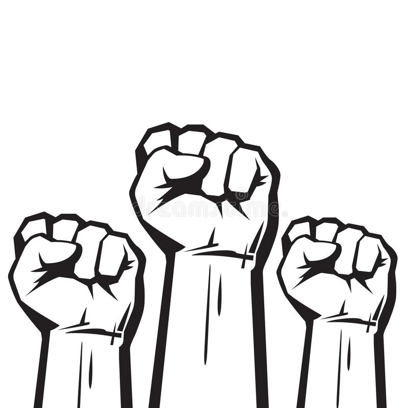 Clenched fists raised in protest. Vector. Clenched fists raised in protest. Three human hands raised in the air. Vector illustration isolated on white stock illustration
