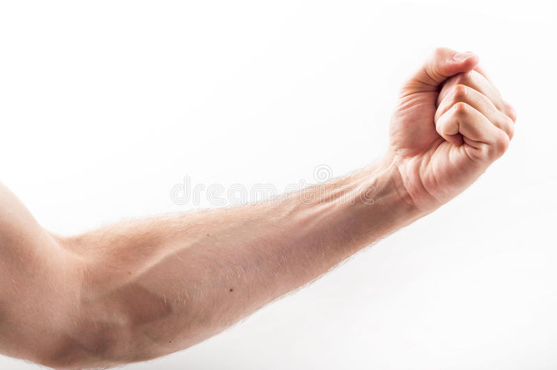 Clenched hand. Of caucasian man stock images