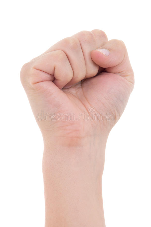 Clenched male fist isolated on white. Background royalty free stock images