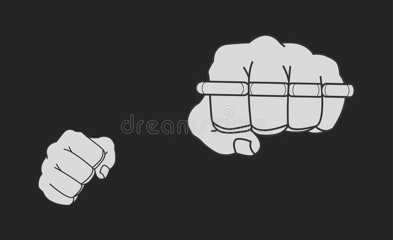 Clenched striking man fists holding brass-knuckle stock illustration