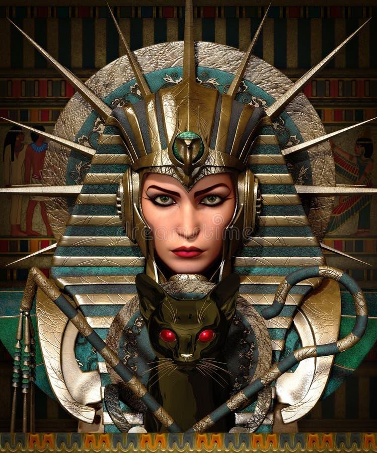 Cleo i Bastet, 3d cg royalty ilustracja