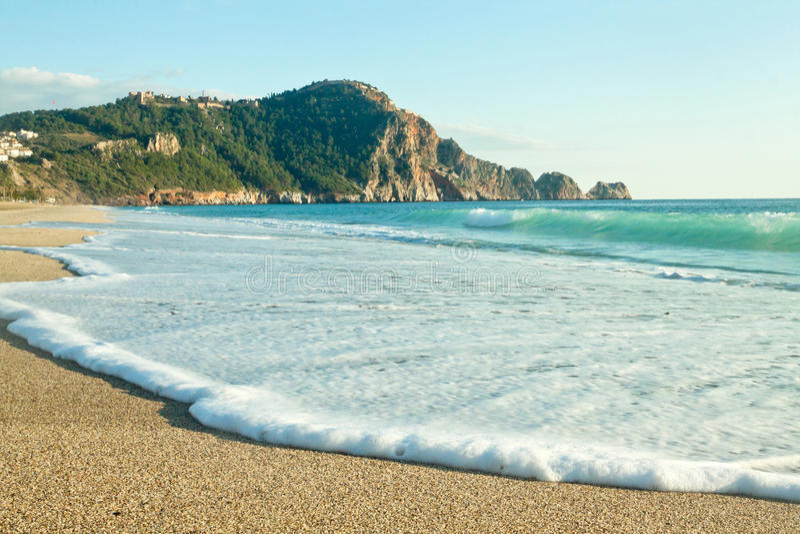 Cleopatra Beach (praia de Kleopatra) em Alanya, Turquia fotografia de stock royalty free