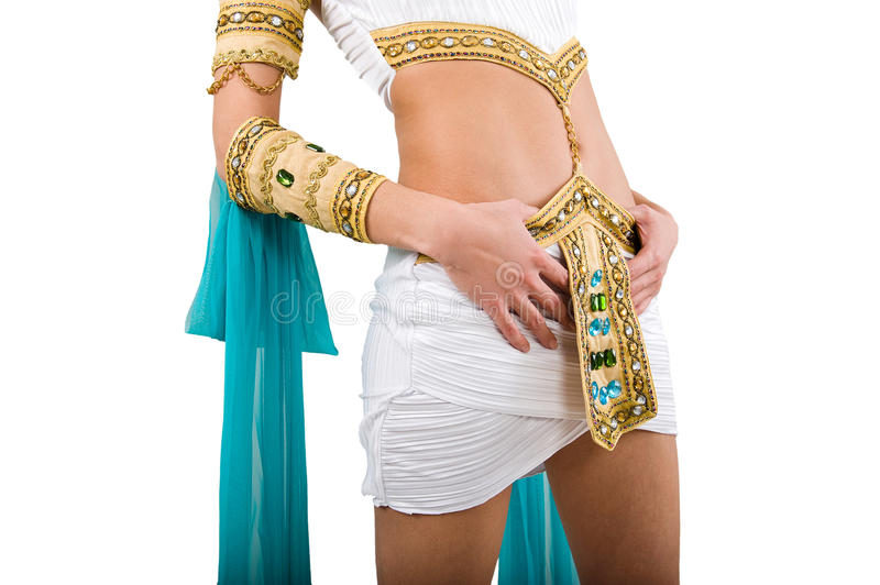 Cleopatra costume. Over white background stock images