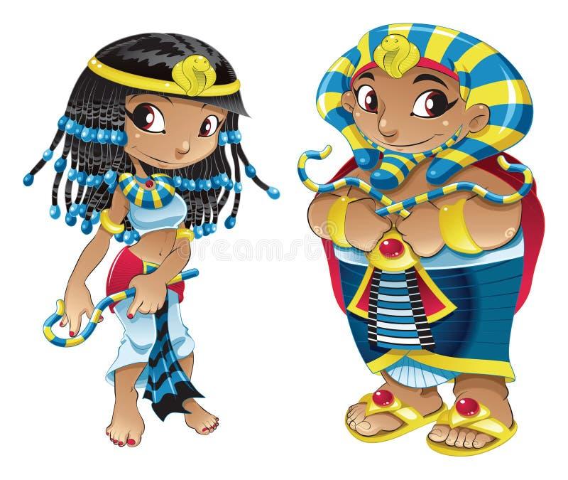 Cleopatra e Pharaoh ilustração royalty free