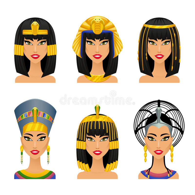 Cleopatra Egyptian Queen. Woman ancient, history and face, portrait nefertiti, vector illustration stock illustration