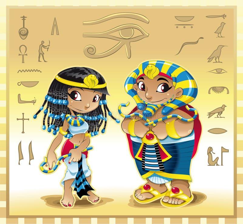 Cleopatra en Farao royalty-vrije illustratie