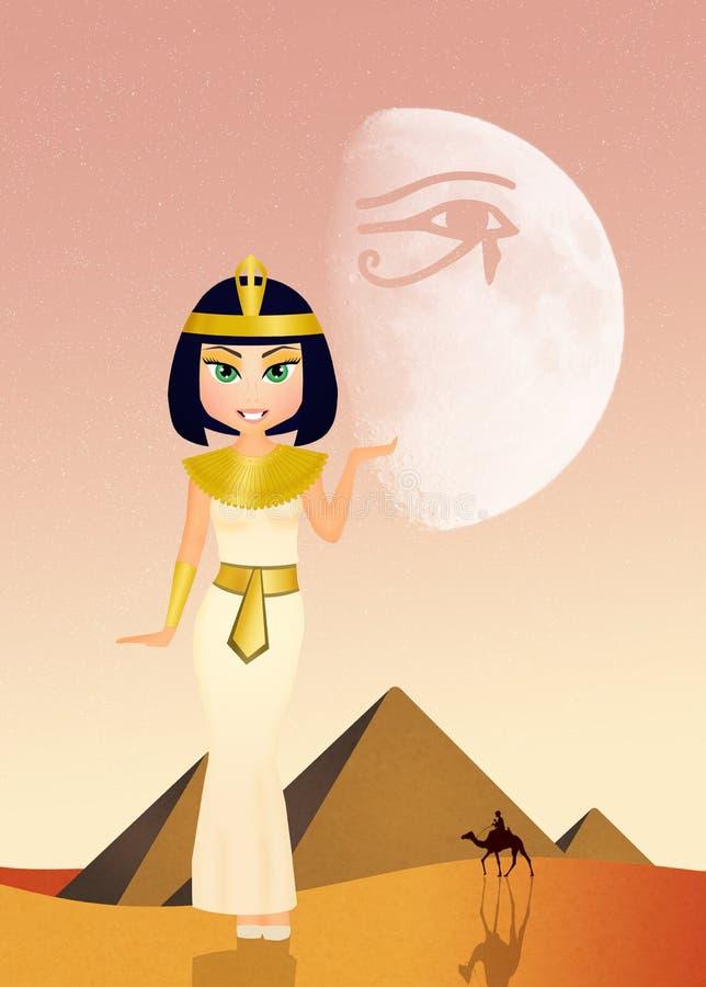Cleopatra engraçada no deserto ilustração royalty free