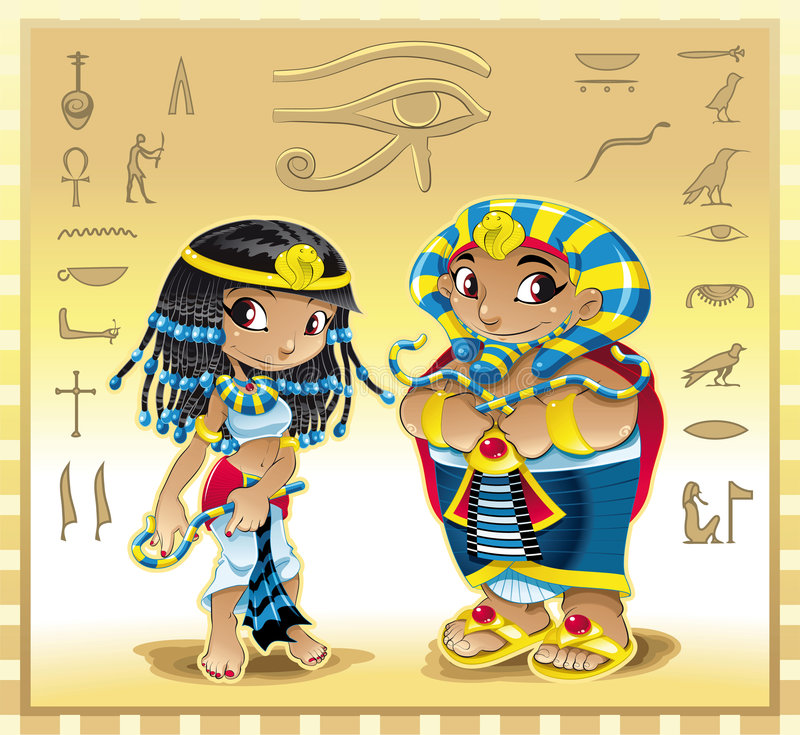 Cleopatra and Pharaoh. Vector image, software: Illustrator royalty free illustration