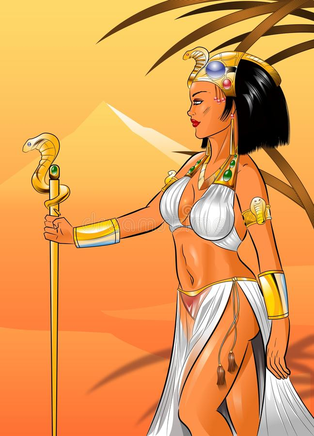 Cleopatra a rainha do deserto ilustração stock