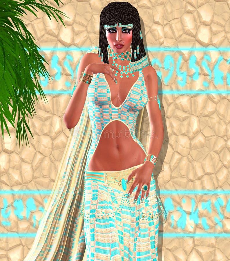 Cleopatra, uma versão digital egípcia moderna da arte ilustração stock