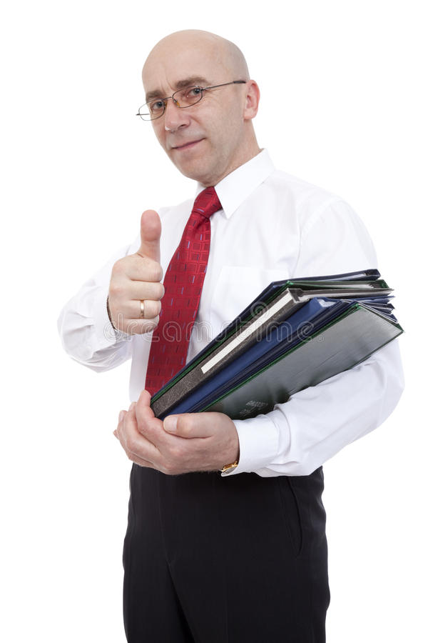 Clerk with binders stock image
