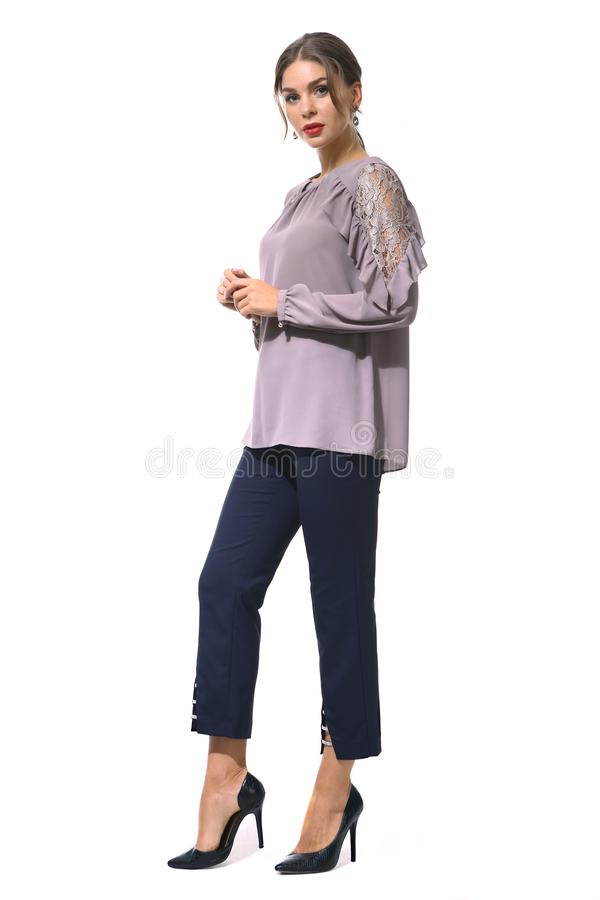 Clerk a mulher de negócio do gerente na blusa formal e na calças curto imagem de stock royalty free