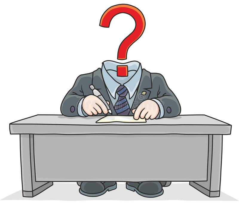 Clerk with a question mark instead of his head vector illustration