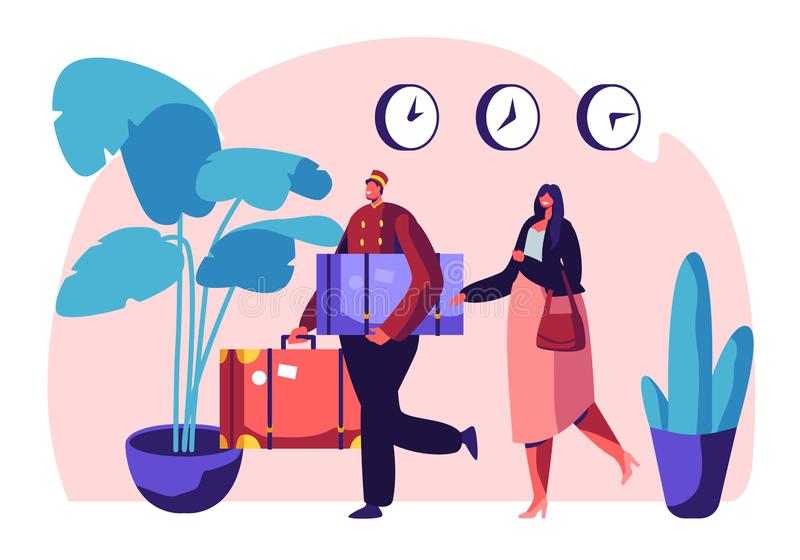 Clerk in Uniform Meeting Woman in Hotel Lobby Helping to Carry Baggage. Hospitality Service, Tourist at Reception Arrive. And Booking Room. Visitor, Guest vector illustration