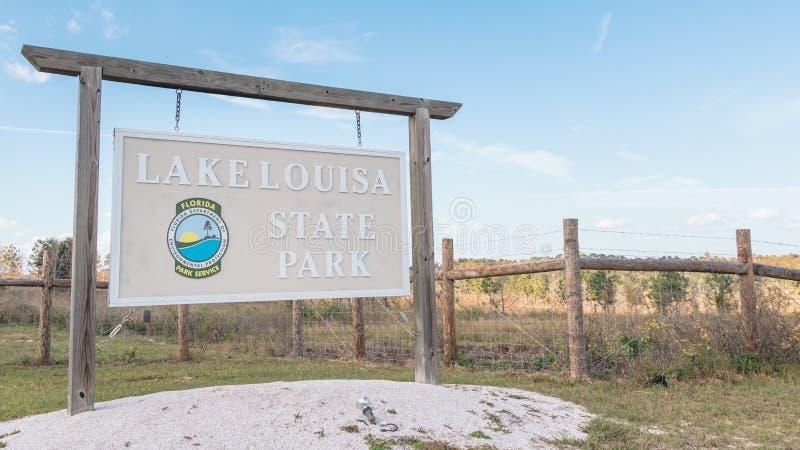 CLERMONT, FLORIDA - NOV 21, 2019. Lake Louisa State Park entrance sign stock photos