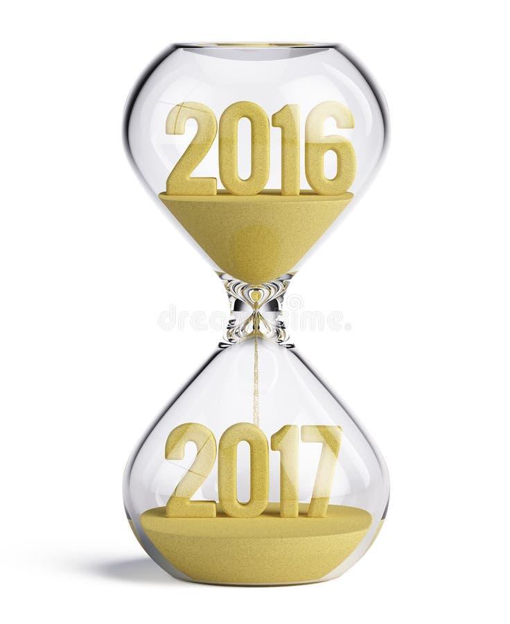 Clessidra con 2016 e 2017 forme della sabbia - concetto 2017 del nuovo anno illustrazione di stock