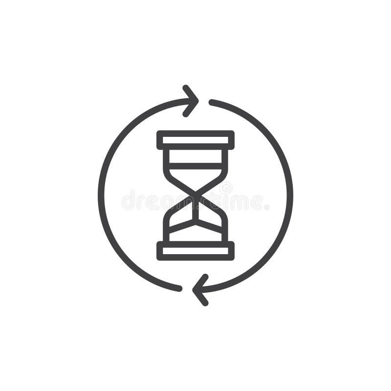 Clessidra con la linea di circonduzione icona delle frecce royalty illustrazione gratis