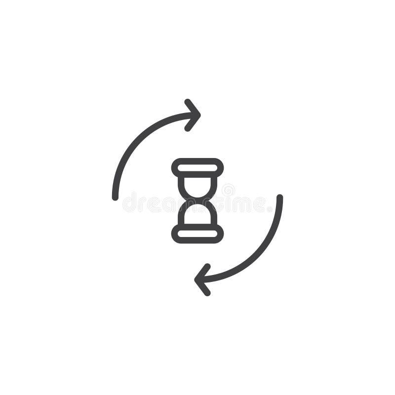 Clessidra con la linea di circonduzione icona delle frecce illustrazione vettoriale