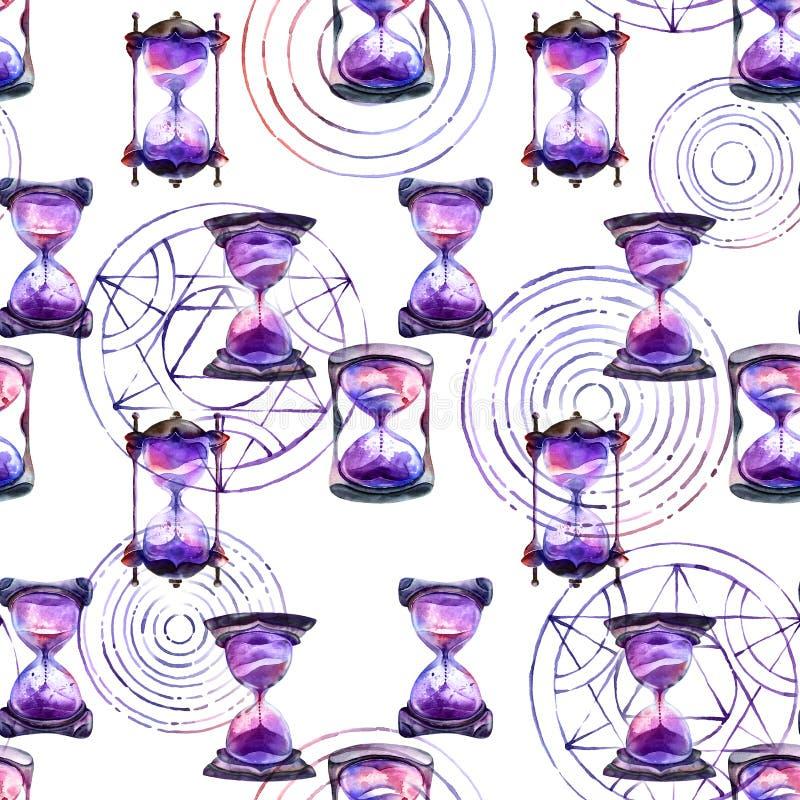 Clessidra della sabbia e modello Alchemical dei cerchi di trasmutazione illustrazione vettoriale