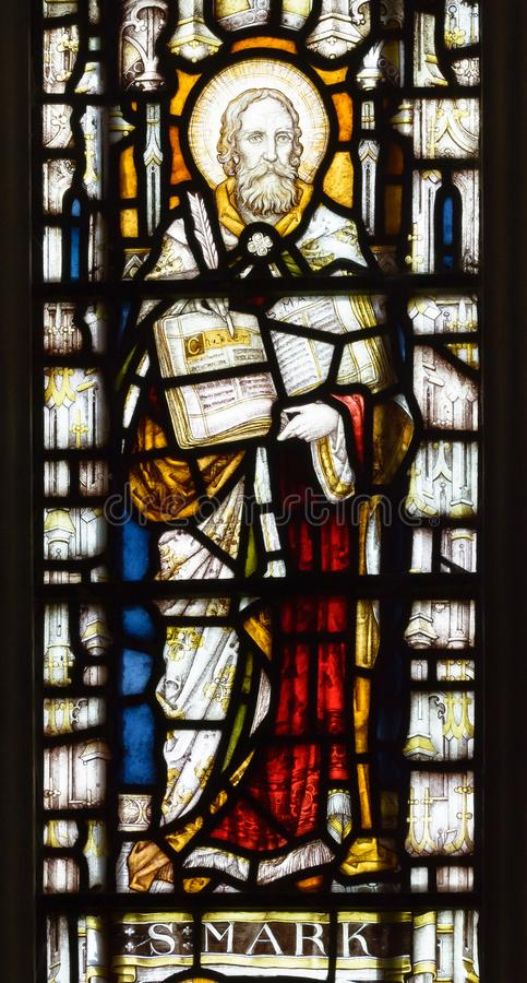 St Andrew`s Church East Stained Glass Window Close up Saint Mark royalty free stock photo